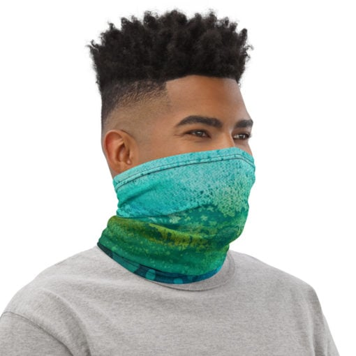 face cover and scarf profile view